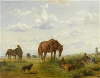 pferde auf der weide by franz adam