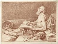der hl. hieronymus, schreibend by johann justin preissler