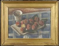 früchtestilleben mit pfirsichen und einem becher by ernest bolens