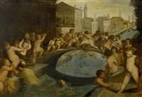 spielende putti auf einer venezianischen brücke by dario varotari