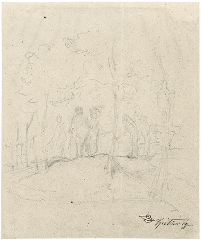 nobles paar bei der promenade unter bäumen by carl spitzweg
