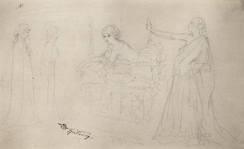studienblatt mit einem jungen mädchen an einem balkon und weitere theaterhafte figuren by carl spitzweg