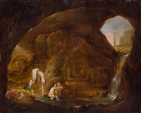 nymphen in einer grotte by cornelis van poelenburgh