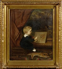 portrait eines malenden knaben by gustav kriesmer