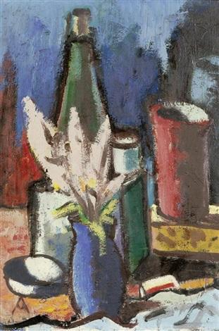 stilleben mit flasche becher und blumensträusschen in einer vase by otto abt