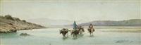 kaukasische landschaft mit ochsenkarren beim durchqueren einer furt by richard karlovich zommer