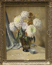 still life with chrysanthemums by willy fleur