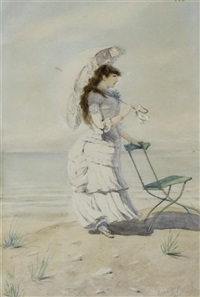 elegante junge dame am strand by leon eugene august abry