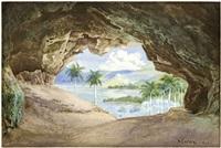 landschaft auf kuba: blick aus einer höhle (cuevos de santo tomas?) auf ein weites tal mit palmen by max zaeper
