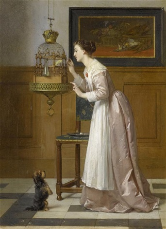 interieurszene mit einer dame einem vogel und einem hund by florent willems