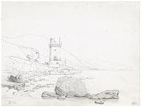 felsenküste mit sarazenenturm bei terracina am tyrrhenischen meer by jörgen roed