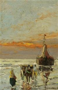 küstenlandschaft mit schiff und pferdekutsche by gerhard arij ludwig morgenstjerne munthe