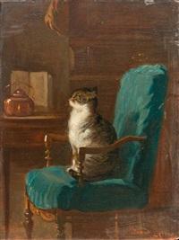 katze auf stuhl in einem interieur by armand hubert simon leleux