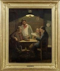 vier herren in einem wirtshaus by adolphe charles edouard steinheil