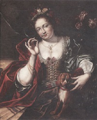 a portrait of a lady with a floral headdress and a red satin shawl by willem van honthorst