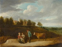 rastende figuren in einer landschaft by david teniers the younger