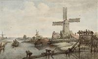 niederländische polderlandschaft mit windmühle by jan hulswit