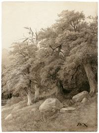 stimmungsvolle waldlandschaft; waldlandschaft mit spazierendem paar (2 works) by johann wilhelm schirmer