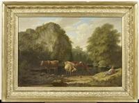 flusslandschaft mit kühen und einem hirten by philip hutchins rogers
