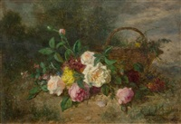 still life of roses with a basket by jean alexandre rémy couder