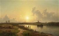 sonnenuntergang in niederländischer flusslandschaft by karl adloff