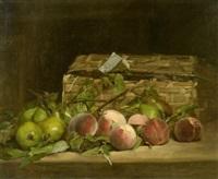 früchtestillleben mit pfirsichen und birnen neben einem korb by ferdinand bassot