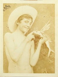 boy in straw hat with flying fish by baron wilhelm von gloeden