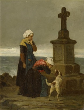 fischerfrauen am kreuz by théophile emmanuel duverger
