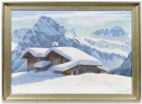 winterliche gebirgslandschaft by wilhelm amrhein