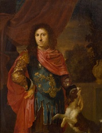 porträt eines edelmannes mit einem hund, wohl ludwig xiii. by ary de vois