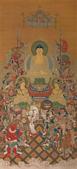 shakyamuni and attendants by hasegawa kaichiro