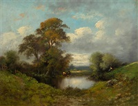 small pond with cows by leon victor dupré