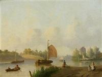 flusslandschaft mit segelbooten by joseph bles