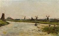 kanallandschaft mit windmühlen by siebe johannes ten cate
