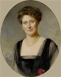 portrait einer dame mit perlenkette by heinrich von angeli