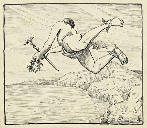 fliegender merkur über einer küstenlandschaft by hans thoma