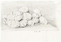 kohlköpfe auf einem küchentisch (+ studien zu einer sitzenden katze, verso) by hans thoma