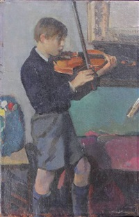 boy in shorts playing the violin by kees verwey