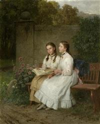 zwei singende junge mädchen auf einer parkbank by minna (henriette wilhelmine) heeren