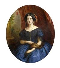portrait einer dame in einem blauen kleid by johann-joseph geisser