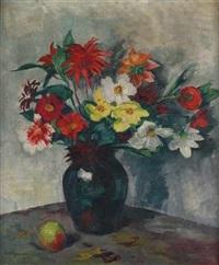 stilleben mit herbstlichen blumen in einer vase und einem apfel by karl friedrich lippmann