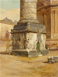 die marc-aurel-säule am piazza colonna, rom by filippo anivitti