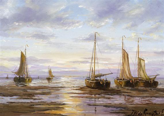 fischerboote auf dem meer bei sonnenaufgang by jacob willem gruyter