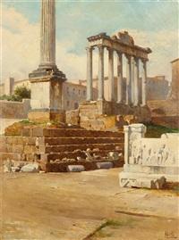 tempelruine auf dem forum romanum, rom by filippo anivitti