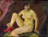 sitzender weiblicher akt mit rotem strumpf by otto gussmann
