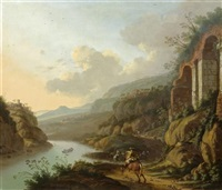 weite landschaft mit reiter by horatius de hooch