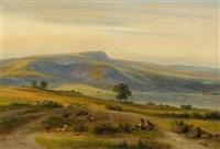 weite landschaft mit einem hirten by ferdinand kiesling