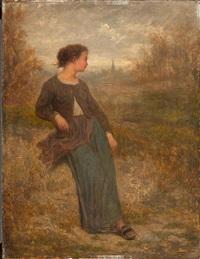 farmersfrau in einer landschaft by antony serres