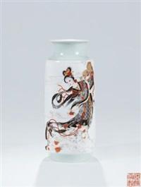 墨彩描金「天女散花」瓷瓶 by xia zhongyong