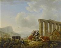 ruinenlandschaft mit kühen und magd by l. de koning